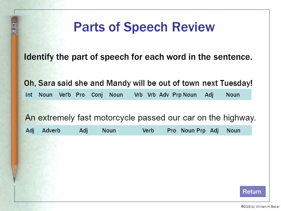 Parts of Speech Review Identify the part of speech for each word in the sentence. Oh, Sara said she and Mandy will be out of town next Tuesday!
