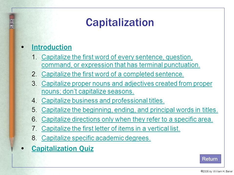 Capitalization Introduction Capitalization Quiz