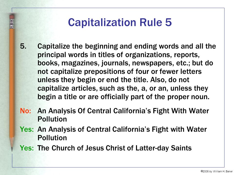Capitalization Rule 5