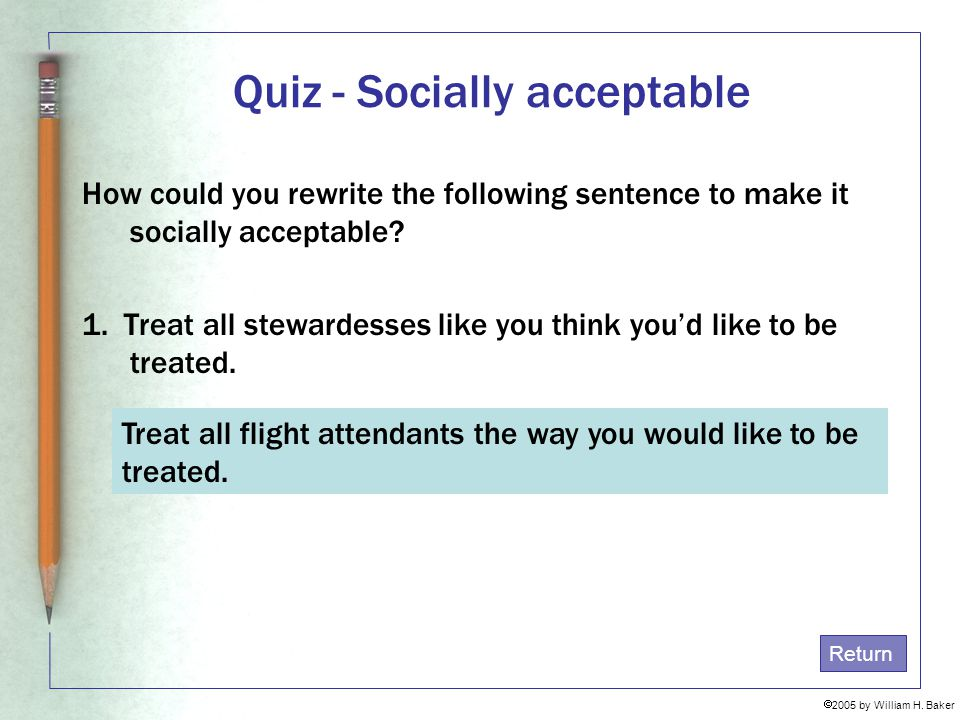 Quiz - Socially acceptable