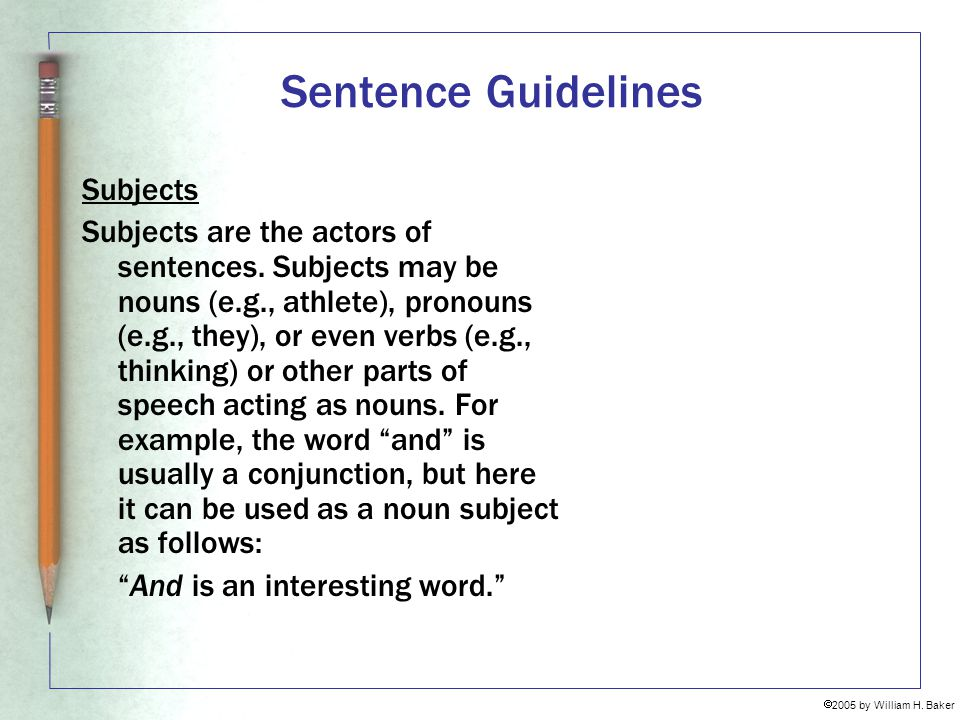 Sentence Guidelines Subjects