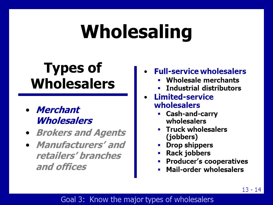 Learning Goals Understand the roles of retailers and ...