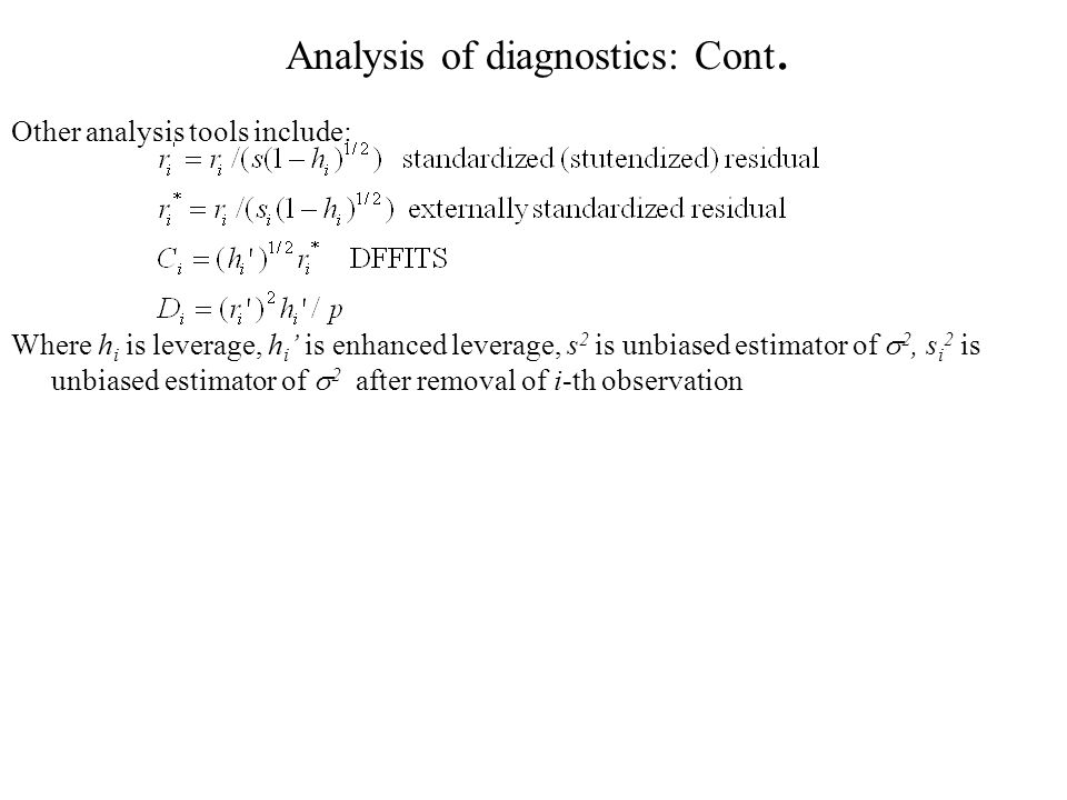 Analysis of diagnostics: Cont.