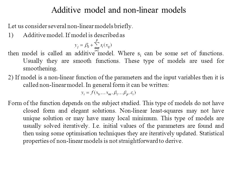 Additive model and non-linear models