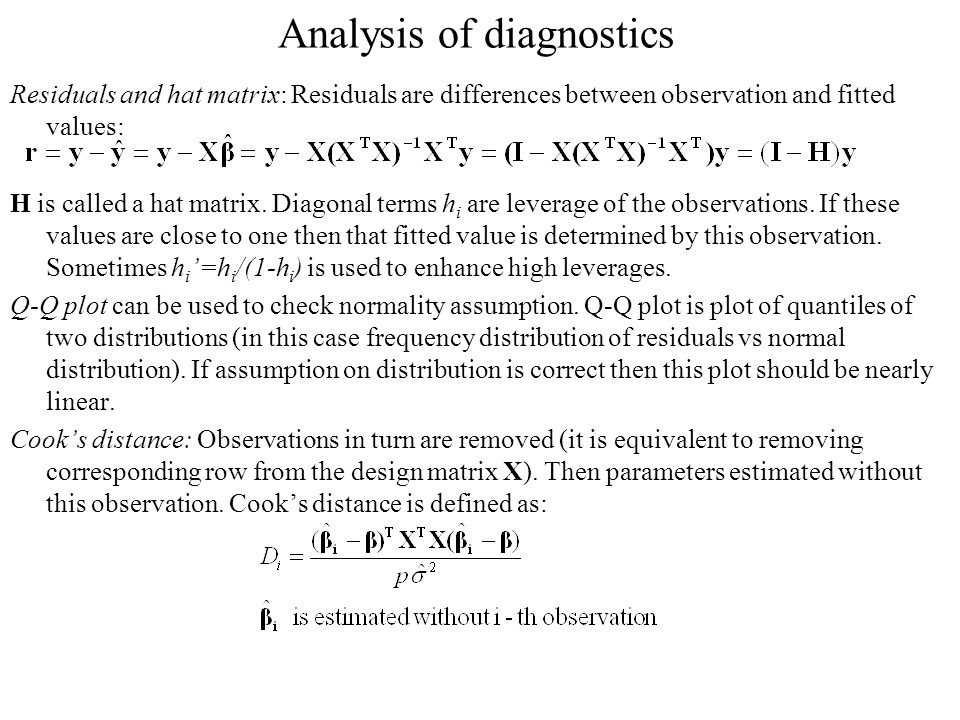 Analysis of diagnostics