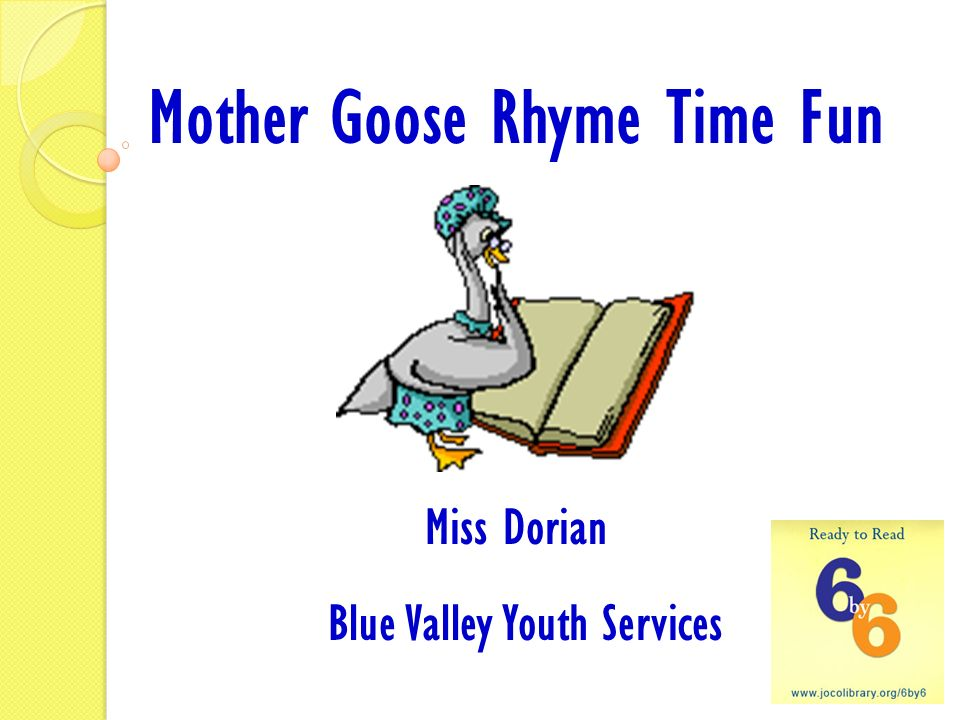 Mother Goose Rhyme Time Fun Blue Valley Youth Services
