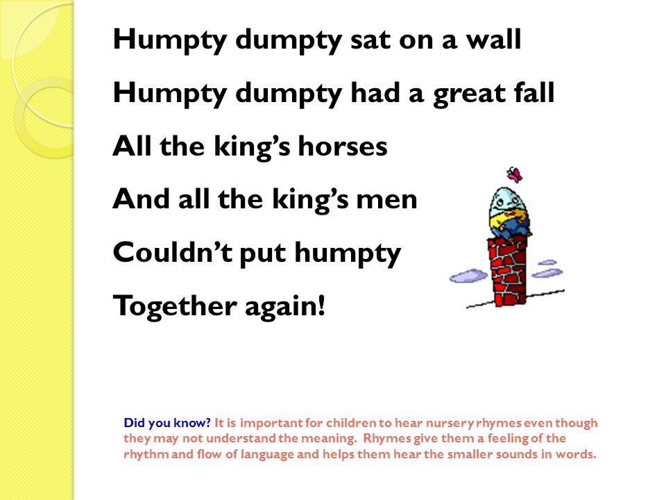 Humpty dumpty sat on a wall Humpty dumpty had a great fall