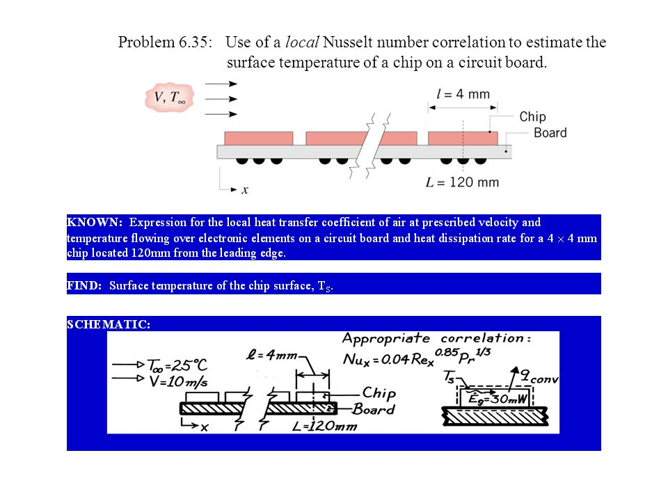 Problem 6.35: Use of a local Nusselt number correlation to estimate the
