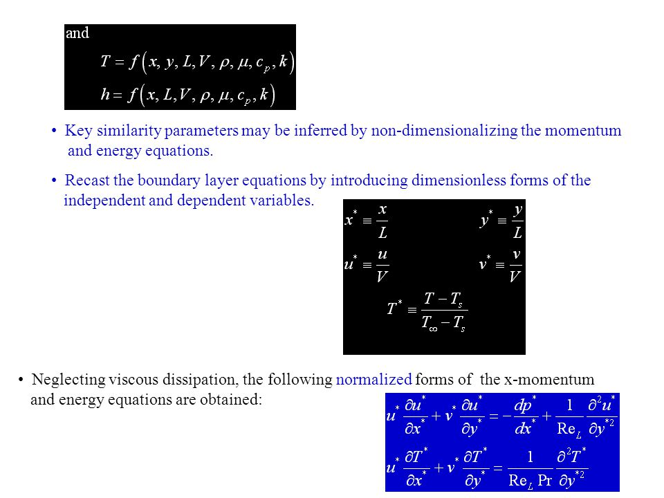Key similarity parameters may be inferred by non-dimensionalizing the momentum
