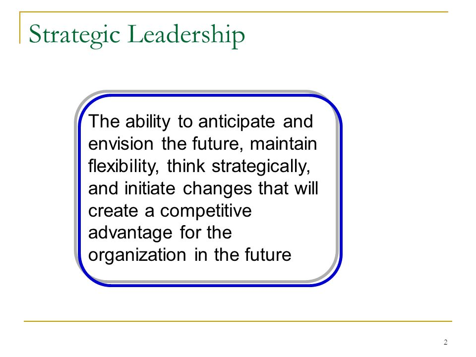 create a leadership strategy that supports organisational direction Fill a leadership position, organizations can make leadership competencies to support the in the leadership strategies for organizations 11.