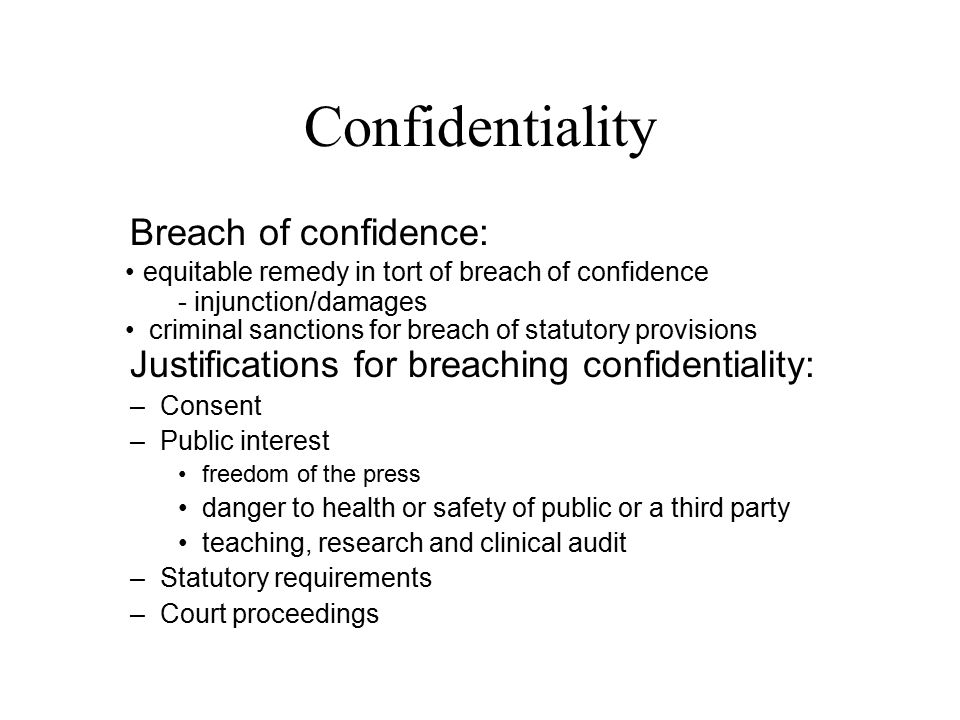 breach of confidence A lawsuit for breach of confidence is an action originating in common law  concerning information between two or more parties basically, confidential  information.