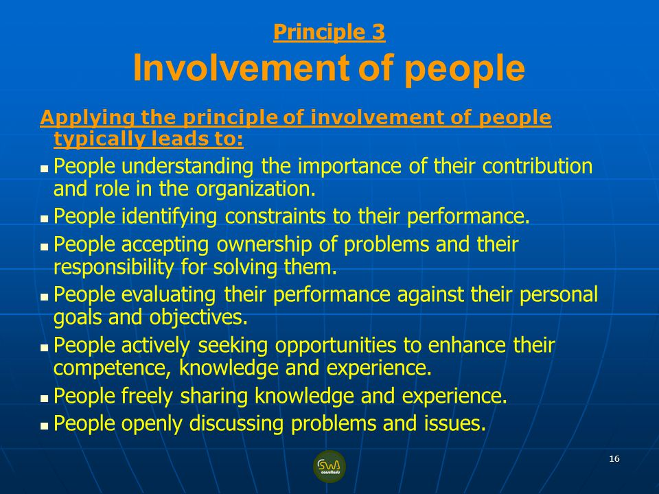 Principle 3 Involvement of people