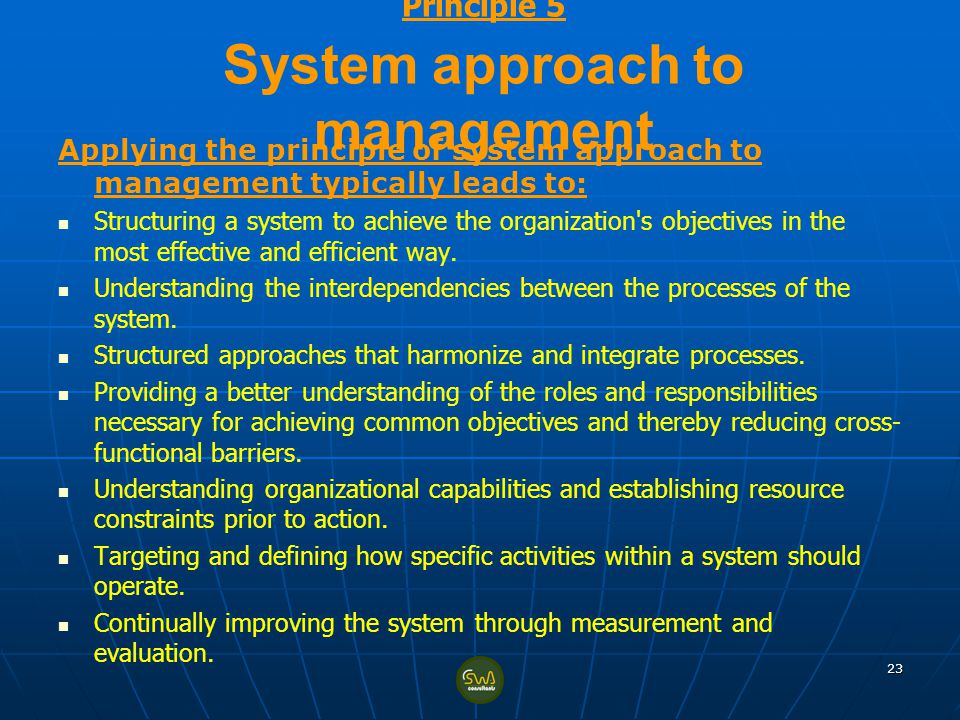 Principle 5 System approach to management