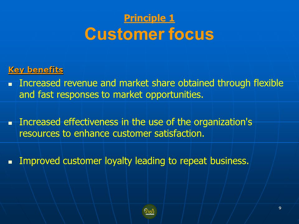 Principle 1 Customer focus