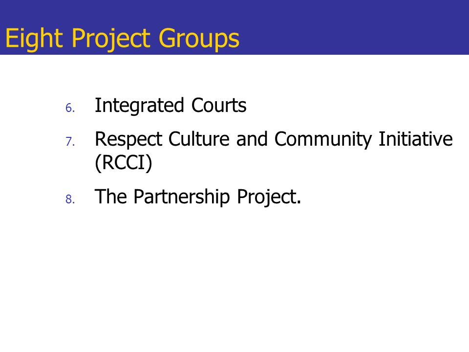 Eight Project Groups Integrated Courts