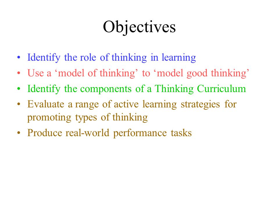 objectives identify the role of thinking in learning