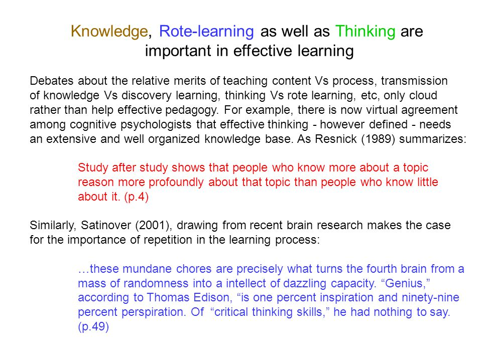 rote learning vs critical thinking
