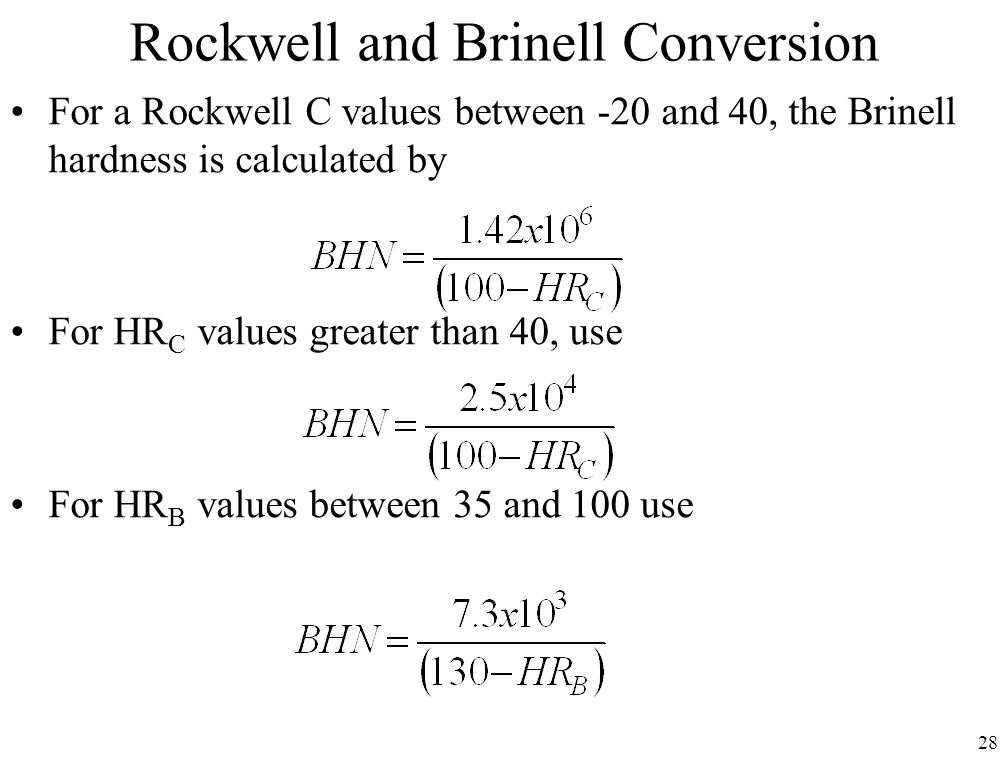 Rockwell and Brinell Conversion