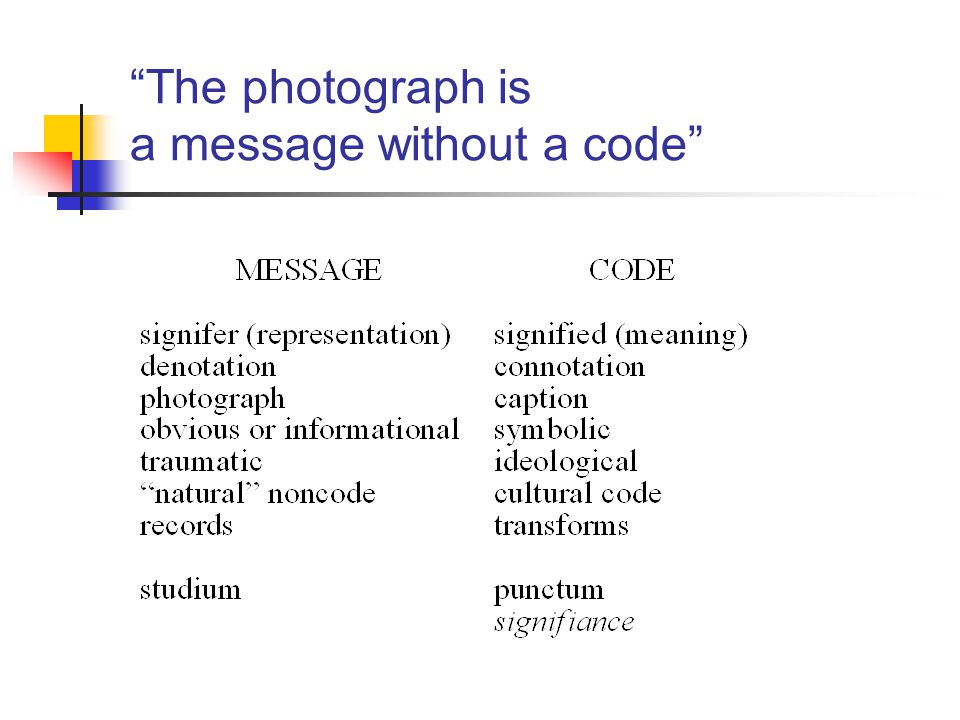 The photograph is a message without a code