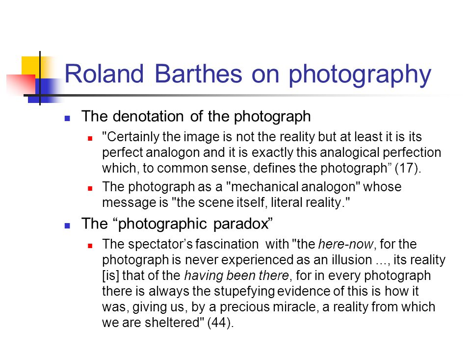 Roland Barthes on photography