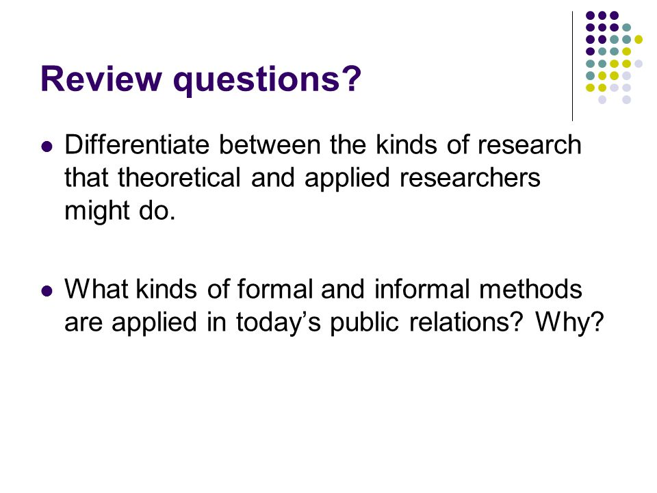 research formal and informal methods of researching data Assessment methods: a look at formal and informal techniques  analyzing the data teachers gather from assessments  and strike the right balance between formal .