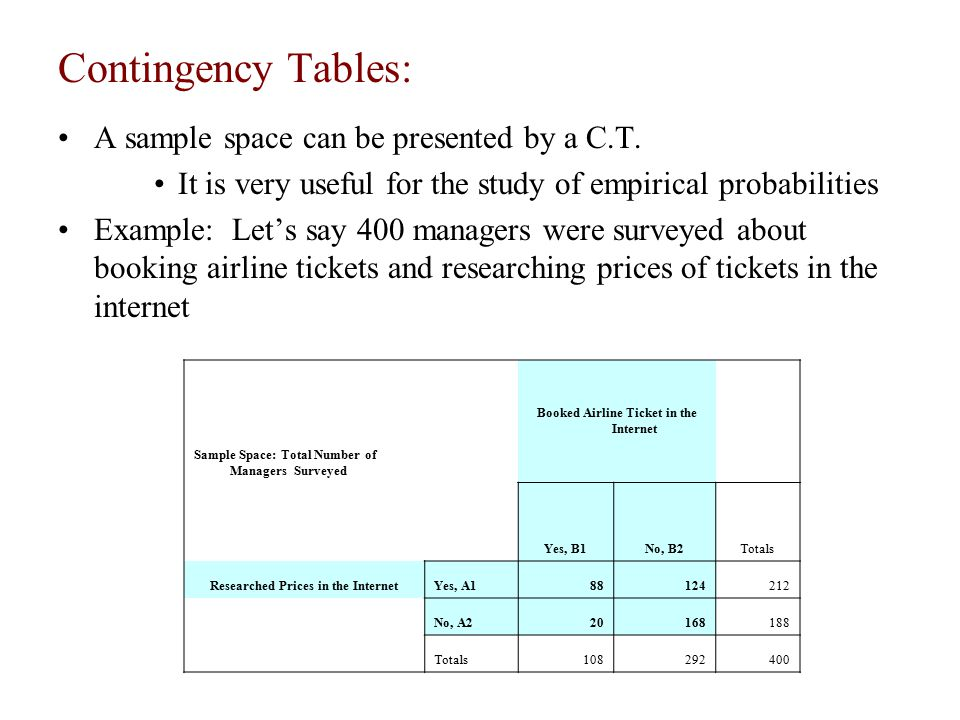 Contingency Tables: A sample space can be presented by a C.T.
