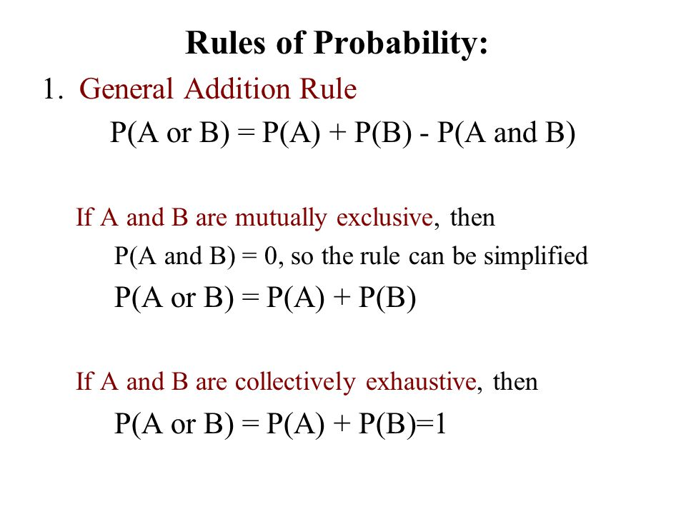 Rules of Probability: General Addition Rule