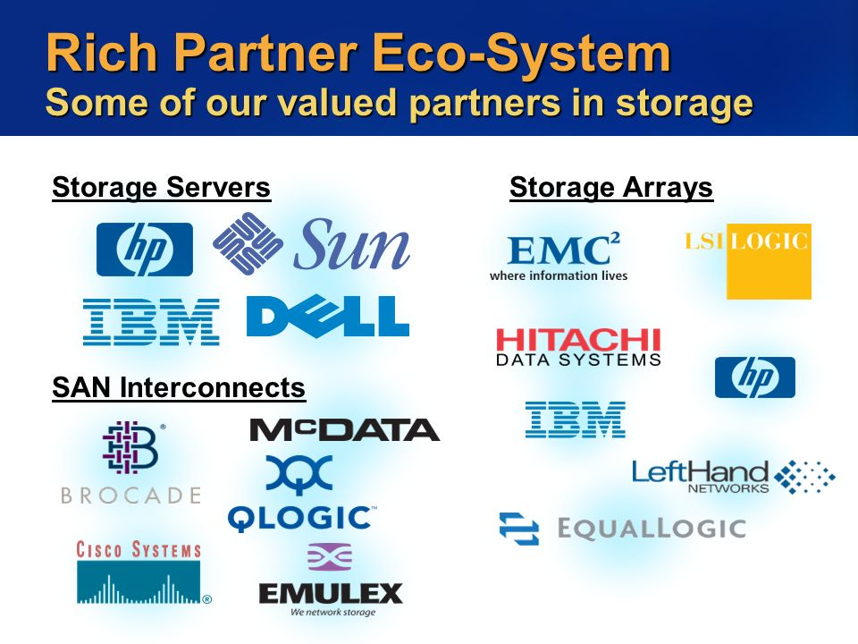Rich Partner Eco-System Some of our valued partners in storage