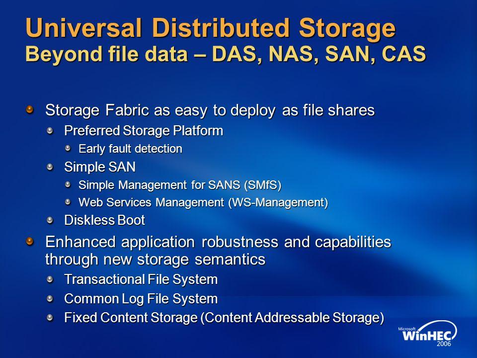 Universal Distributed Storage Beyond file data – DAS, NAS, SAN, CAS