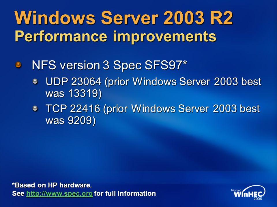 Windows Server 2003 R2 Performance improvements