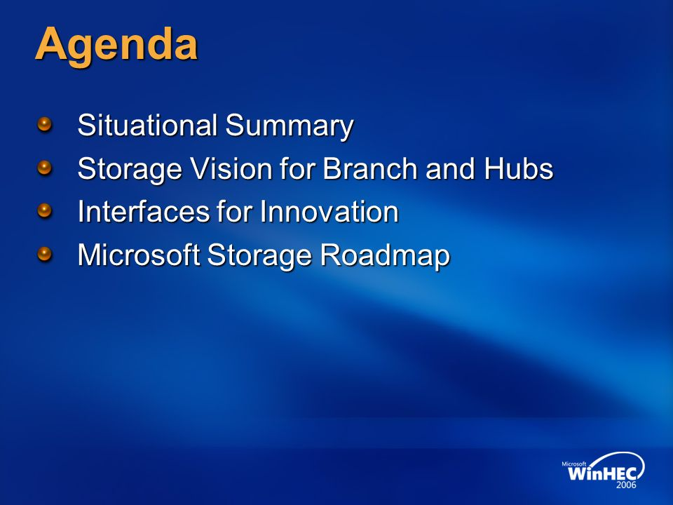 Agenda Situational Summary Storage Vision for Branch and Hubs
