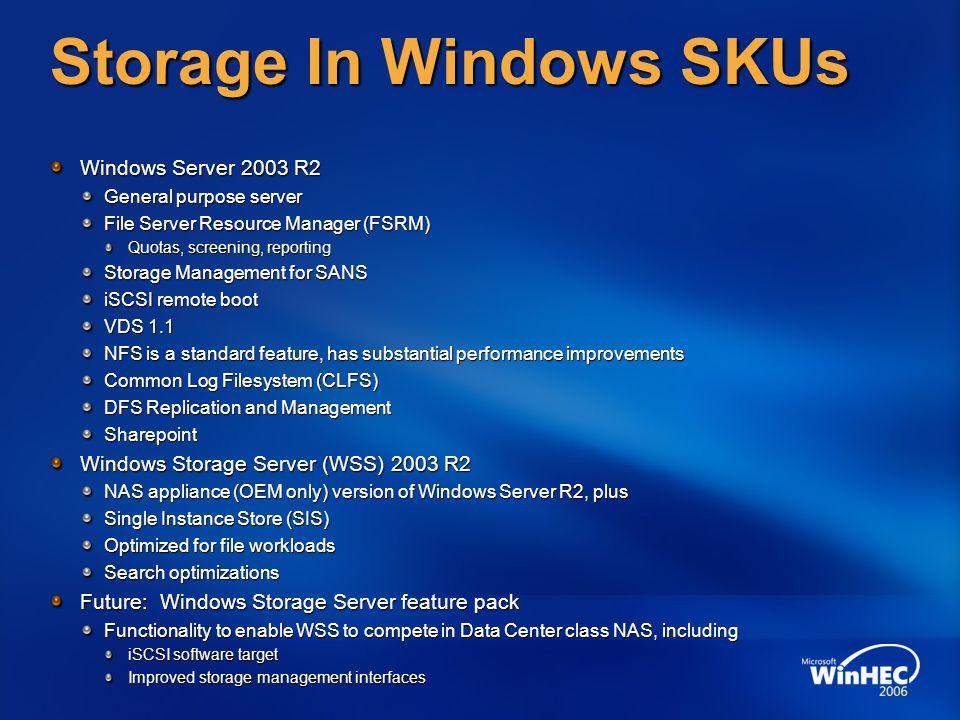 Storage In Windows SKUs