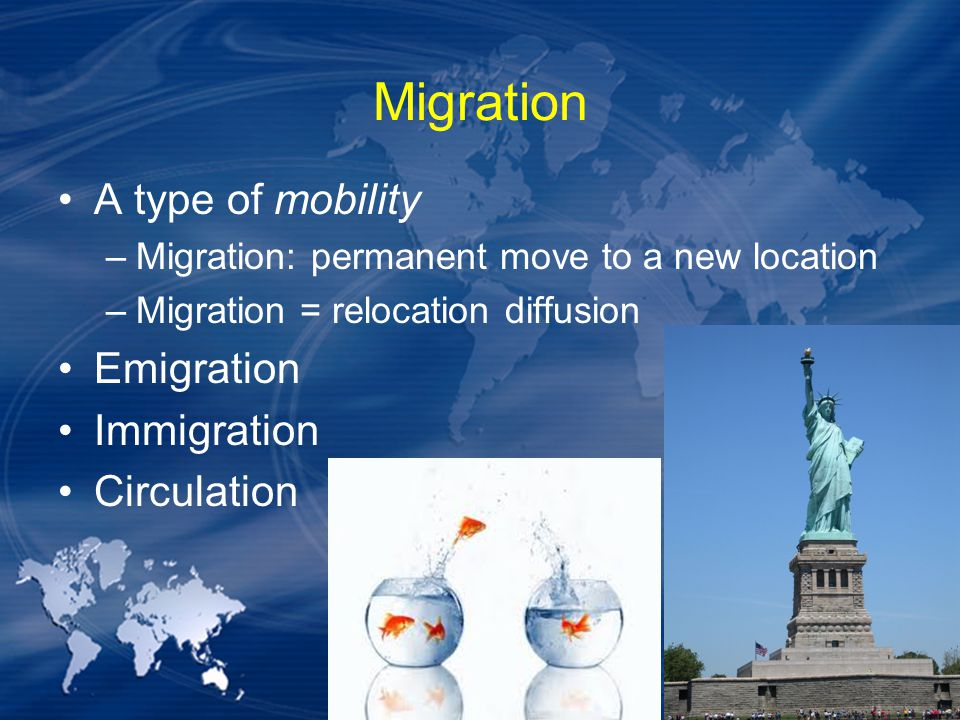 Migration A type of mobility Emigration Immigration Circulation