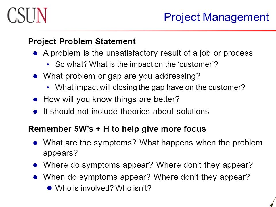 problem statement project Issue that a quality improvement team is seeking to address project description: problem statement sample problem statement road from buffalo grove road.