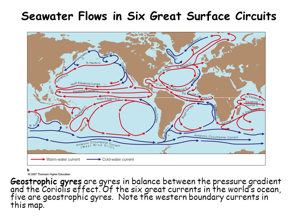 Seawater Flows in Six Great Surface Circuits
