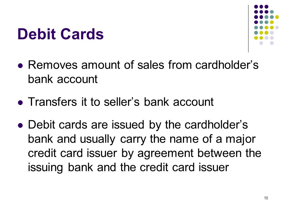 Debit Cards Removes amount of sales from cardholder's bank account