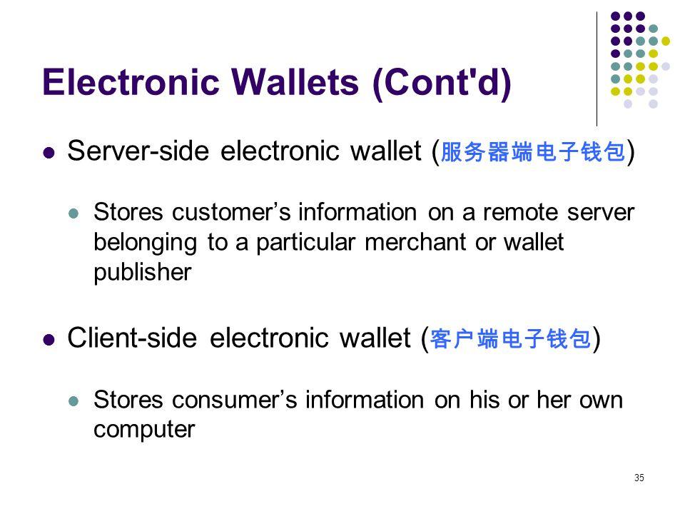 Electronic Wallets (Cont d)