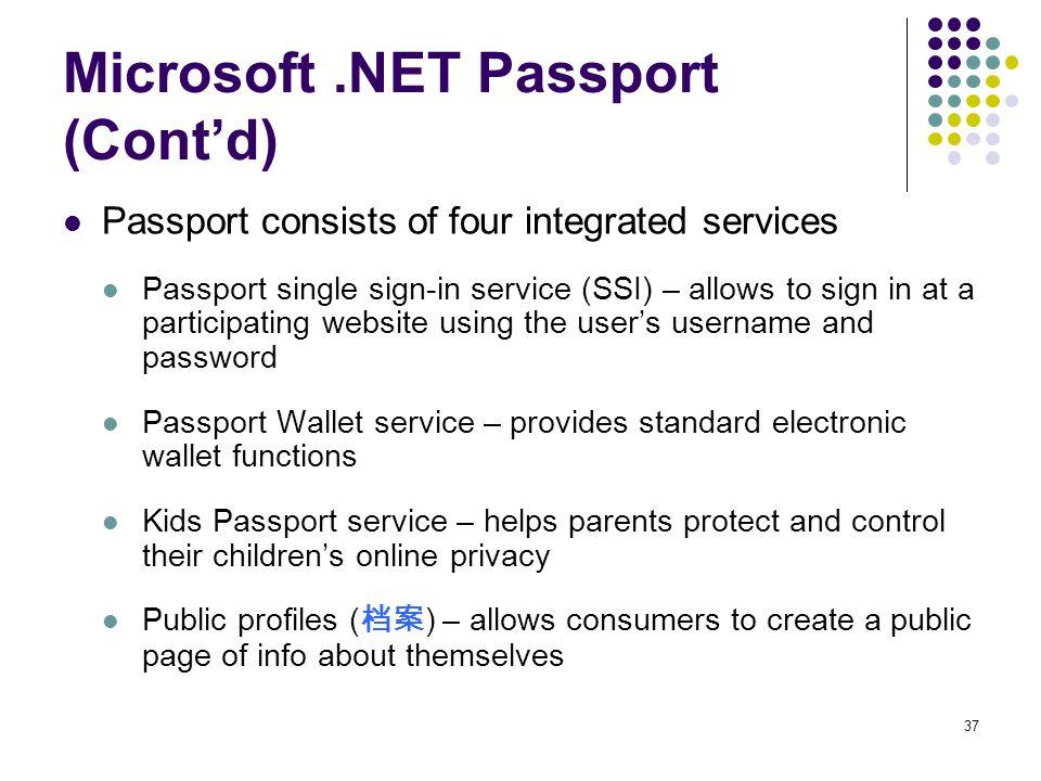 Microsoft .NET Passport (Cont'd)