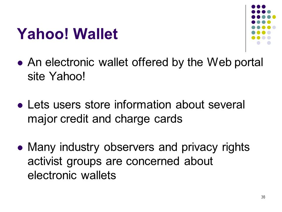 Yahoo! Wallet An electronic wallet offered by the Web portal site Yahoo! Lets users store information about several major credit and charge cards.