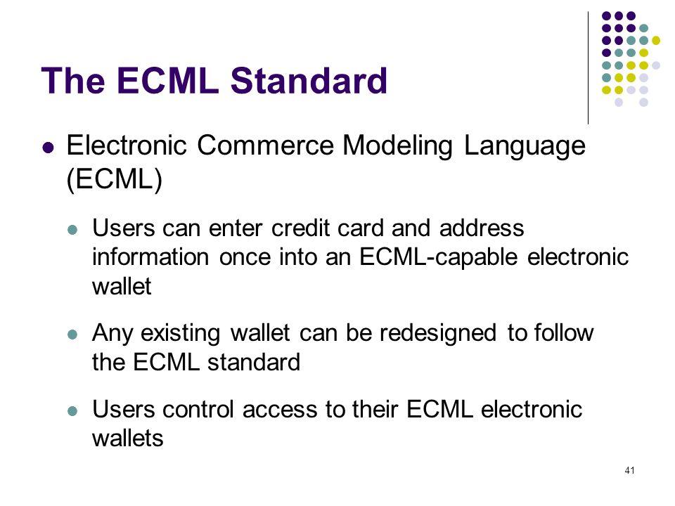 The ECML Standard Electronic Commerce Modeling Language (ECML)