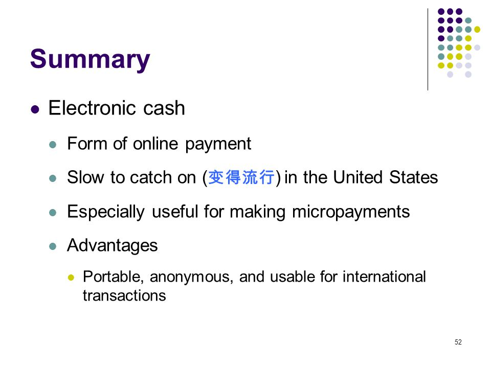 Summary Electronic cash Form of online payment