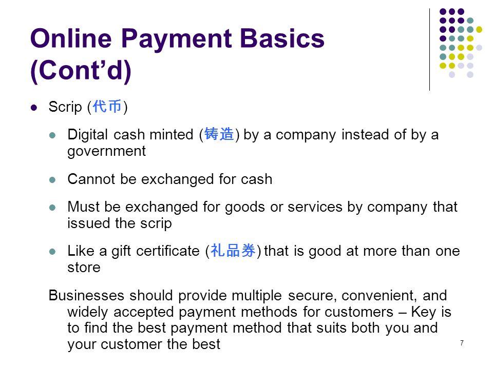 Online Payment Basics (Cont'd)