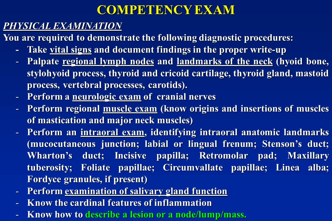 COMPETENCY EXAM PHYSICAL EXAMINATION
