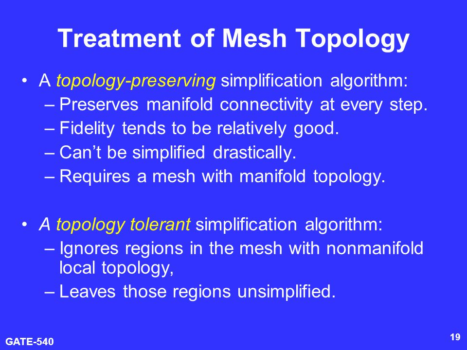 algorithm for mesh simplification Meshsimplify is a program for polygon mesh simplification it can be used to create simplified variants of an input mesh with arbitrary numbers of faces in addition.