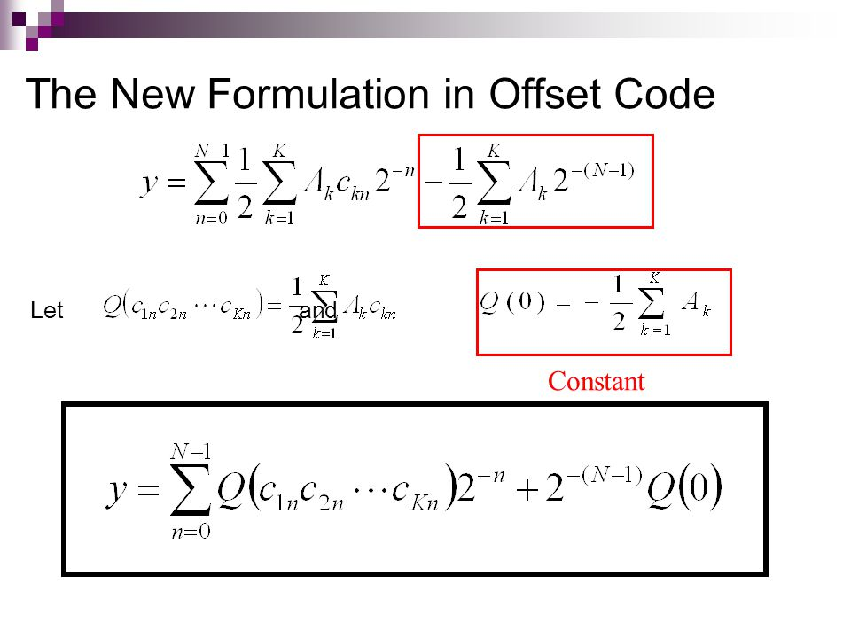 The New Formulation in Offset Code