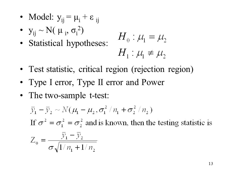 Model: yij = μi + ε ij yij ~ N( μ i, σi2) Statistical hypotheses: Test statistic, critical region (rejection region)