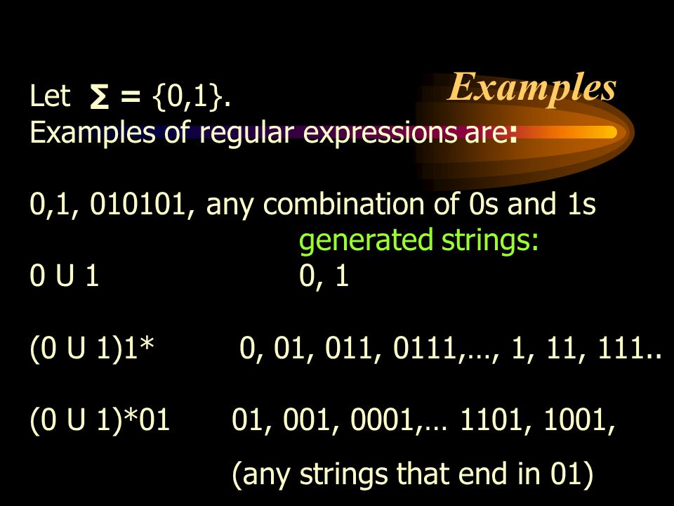 Examples Let ∑ = {0,1}. Examples of regular expressions are: