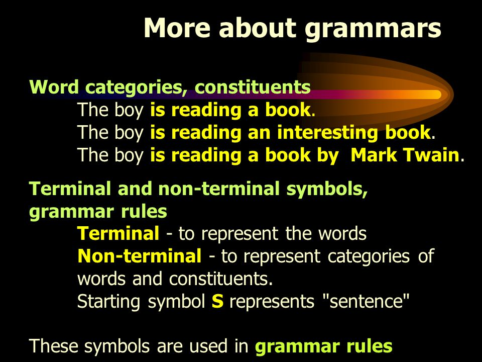More about grammars Word categories, constituents