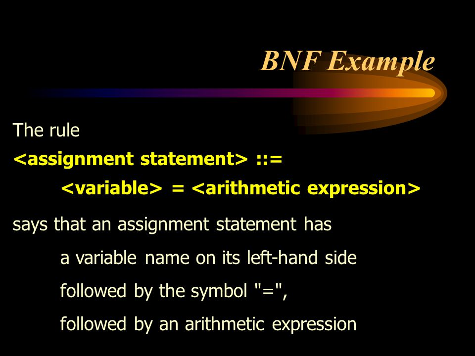 BNF Example The rule <assignment statement> ::=