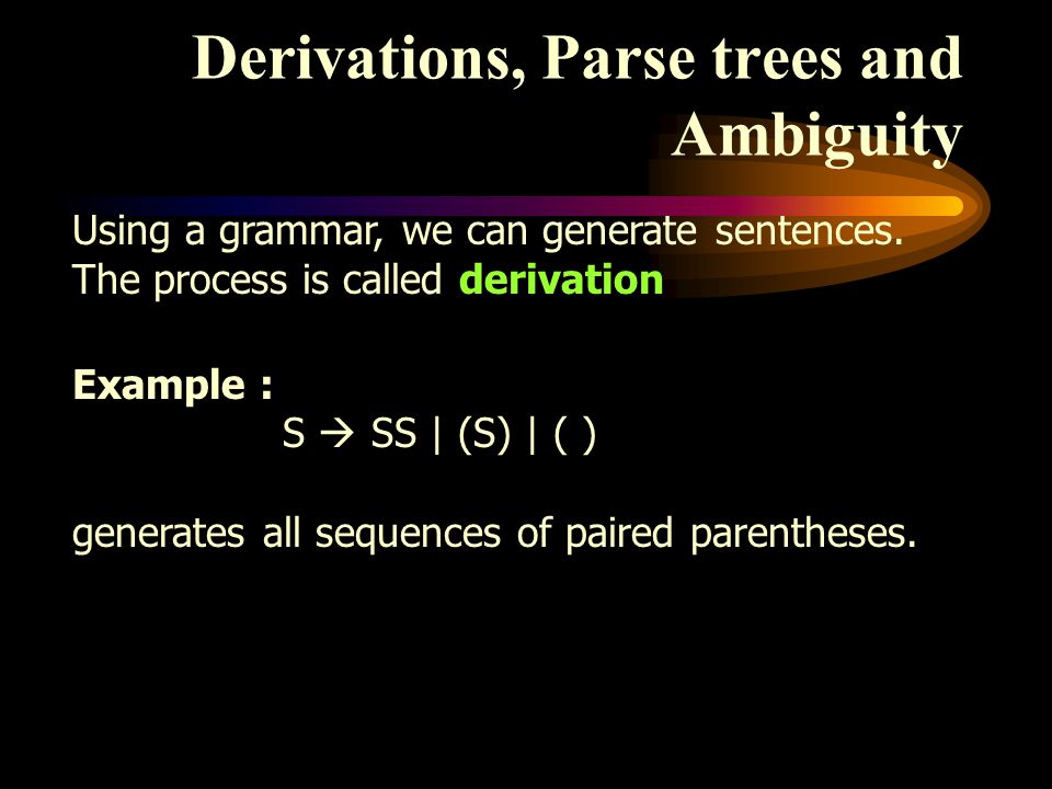 Derivations, Parse trees and Ambiguity